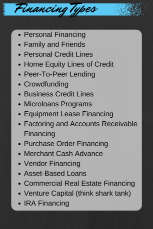 Financing types Personal Financing Family and Friends Personal Credit Lines Home Equity Lines of Credit Peer-To-Peer Lending Crowdfunding Business Credit Lines Microloans Programs Equipment Lease Financing Factoring and Accounts Receivable Financing Purchase Order Financing Merchant Cash Advance Vendor Financing Asset-Based Loans Commercial Real Estate Financing Venture Capital (think shark tank) IRA Financing