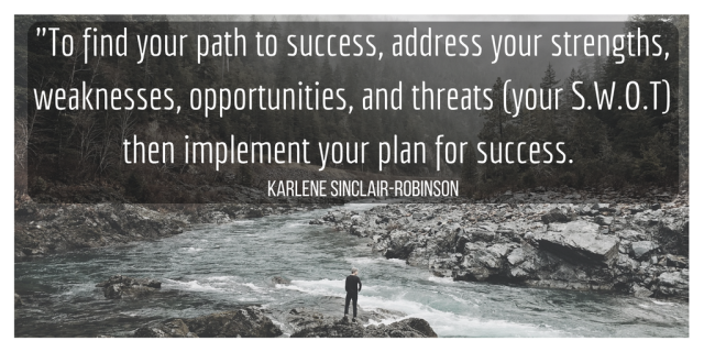 to find your path to success, address your strengths, weaknesses, opportunities, and threats your swot S.W.O.T then implement your plan for success karlene sinclair-robinson